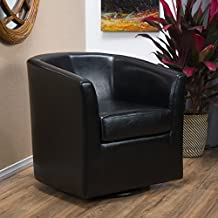 Corley Black Leather Swivel Club Chair