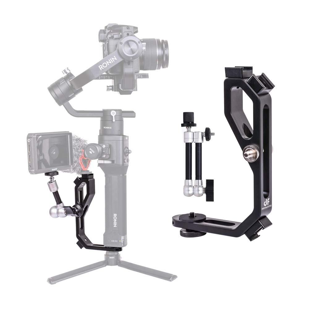 DF DIGITALFOTO Handle Grip L Bracket Accessories Mounting Monitors Compatible DJI Ronin S ZHIYUN Crane M Crane 2 Plus/MOZA Aircross/FEIYU AK2000 Gimbal
