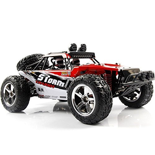 AHAHOO 1:12 Scale RC Cars 35MPH+ High Speed Off-Road Remote Control Vehicle 2.4Ghz Radio Controlled Racing Monster Trucks Rock Climber with LED Light Vision (Red) - For Big Car Remote Adults Control