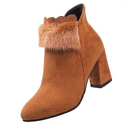 confort botas negro primavera PU el de Brown exterior otoño para marrón mujer de Zapatos qfH0Tw