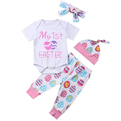 628aeefedac82 Kids Sets, Infant Baby Girls Easter Egg Letter Print Short-Sleeve Romper+Pant+Hair  Band+Hat Casual Outfit Set: Clothing