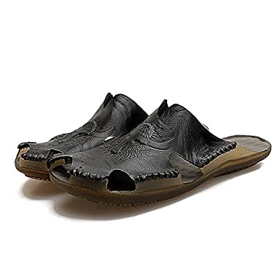 2018 Men's Genuine Leather Beach Slippers Casual Non-Slip Soft Flat Closed Toe Sandals Shoes NO Glue,Perfect for The Beach or Any Outdoor Scene. (Color : Black, Size : 5.5 UK)