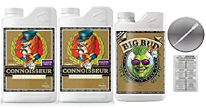 Advanced Nutrients Connoisseur Coco Bloom A & B Liter 4 Liter & Big Bud Coco Plant 1 Liter Bundle with Twin Canaries Conversion Chart and 3mL Pipette