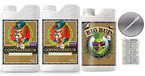 Advanced Nutrients Connoisseur Coco Bloom A & B 4 Liter & Big Bud Coco Plant 1 Liter Bundle with Conversion Chart and 3mL Pipette by Advanced Nutrients