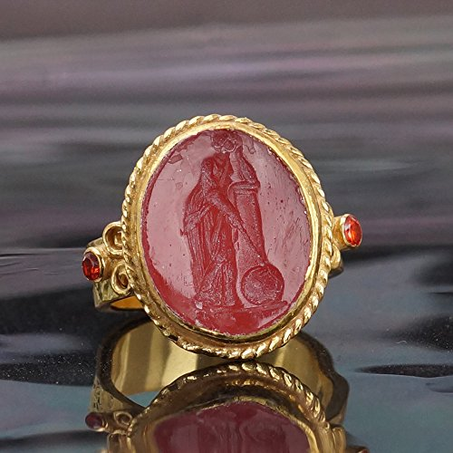 HAND CARVED ANCIENT VENETIAN INTAGLIO RING 24K GOLD VERMEIL 925K SILVER BY OMER SIZE 6.25 (Carved Intaglio)