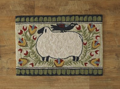 (Park Designs Sheep with Bird Hooked Rug)