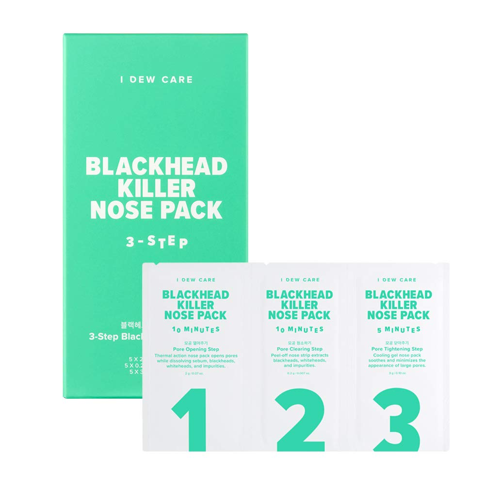 I DEW CARE 3 Step Blackhead Kill Nose Pack 5ea, Removes Blackheads and Whiteheads, Cleansing Pore Nose Pack, Strips Mask Pack