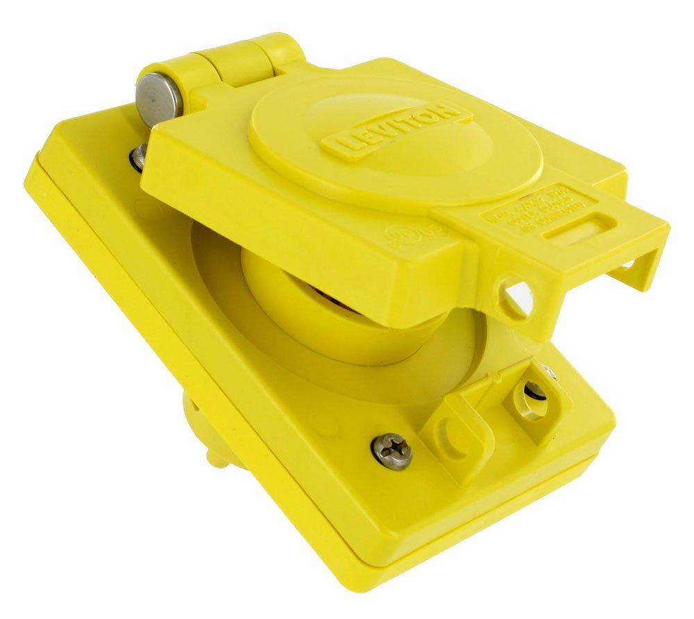 Leviton 59W33 20 Amp, 125 Volt, NEMA 5-20, 2P, 3W, Straight Blade Single Inlet, Industrial Grade, Grounding, Wetguard, Yellow