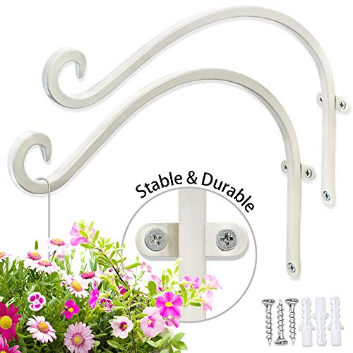 (Hand Forged Hanging Plant Bracket (2 Sets - 12inch) More Stable Robust and Durable White Curved Hooks)