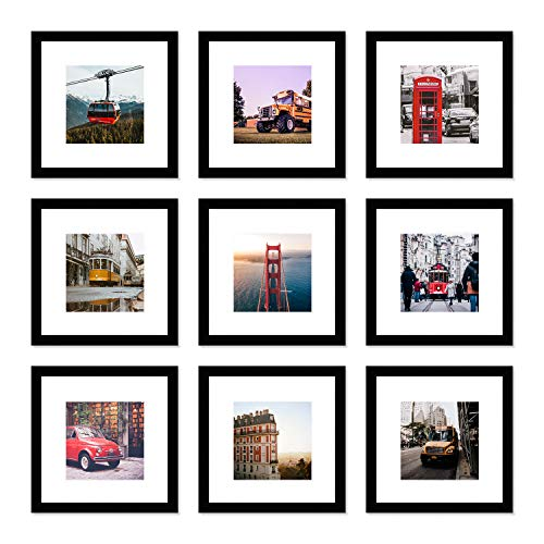 WOOD MEETS COLOR Picture Frames Set Wall Gallery Collage Frames Glass Window and Photo Mats (9-12x12) (12 10 Photo Glass Frames X)