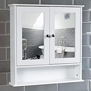 Home Discount® Bathroom Cabinet Mirrored Double Doors Wall Mounted ...