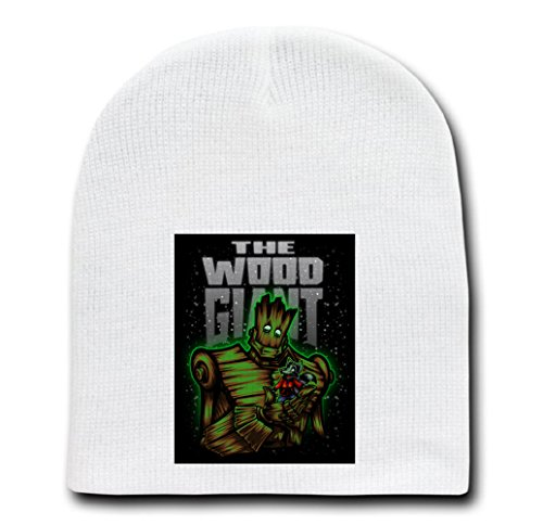 White Adult Beanie Skull Cap Hat - The Wood Giant - Parody Design - Adult Rocket Raccoon Gloves