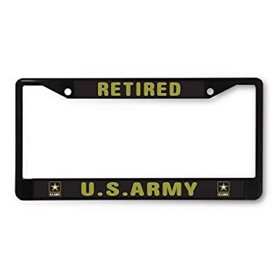 Sign Destination Metal License Plate Frame Retired U.S. Army Car Auto Tag Holder Black 2 Holes One Frame: Automotive