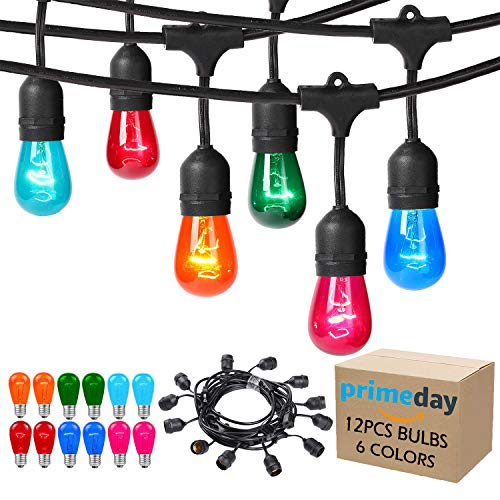 Areful Outdoor String Lights, 17.3 Ft Weatherproof Connectable Decorative Commercial Lighting Strands with 10 Hanging Sockets and Colored S14 Bulbs for Home, Business or Party -