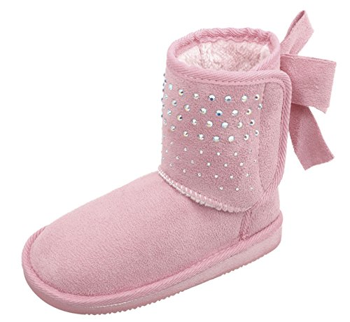 Arctic Paw Kids Sparkle Faux Suede Sherpa Lined Winter Boots With Sequins and Bow Pink -