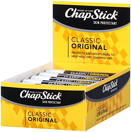 Spearmint Flavored Lip Balm - ChapStick Classic (1 Box of 12 Sticks, 12 Total Sticks, Original Flavor) Skin Protectant Flavored Lip Balm Tube, 0.15 Ounce Each
