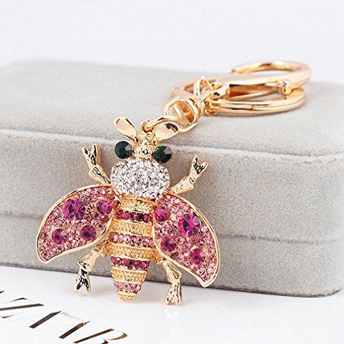 Rhinestone Plated Ring Silver Key - Womens 4 Colors Sparkling Rhinestone Honey Bee Keychain Key Holder Women Girls Bag Accessories Cute Bee Key Chain Rings Purple