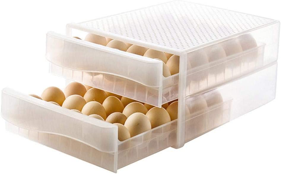 2-Layer 60 Grid Covered Eggs Storage Container for Refrigerator, Large Capacity Drawer Type Egg Storage Box, Egg Tray Dispenser Stackable Plastic Eggs Containers