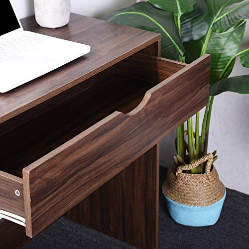 Computer Writing Desk with 1 Storage Drawer Wooden Study Table Desk for Home Office, Walnut Brown TAR012 by Coavas (Image #5)