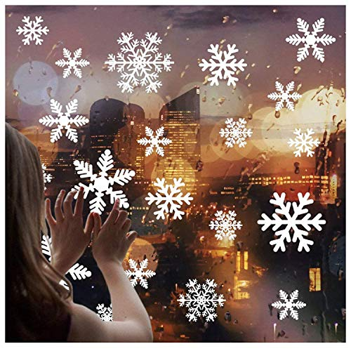 White Snowflakes Window Decorations Clings Decal Stickers Ornaments for Christmas Frozen Theme Party New Year Supplies-4 Sheets,108 pcs -
