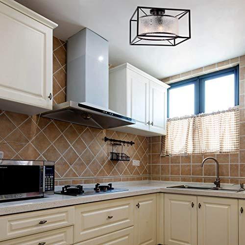 "Alice House 16.5"" Ceiling Light, 4 Light, Semi-Flush Mount, Brown Finish with Diamond Glass, Farmhouse Lighting Fixture for Kitchen, Dining Room, Foyer, Bedroom, Hallway AL8061-S4"