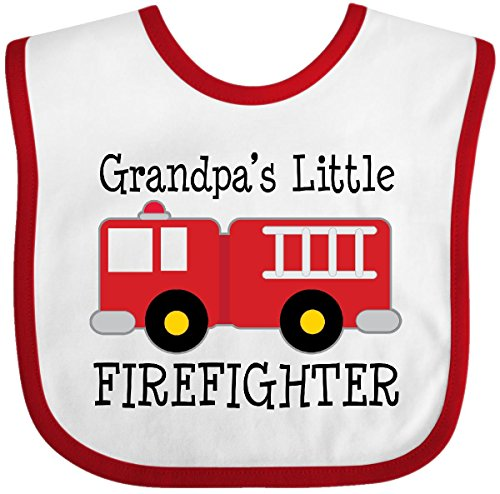 Inktastic - Grandpa's Little Firefighter Baby Bib White/Red 22062