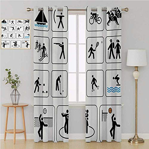 Olympics Gromit Curtains Room Darkening CurtainsSports Competition Games Signs Dancing Horse Riding Bowling Athletics Themed Artcountry Curtain 120 by 84 InchBlack White