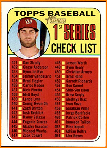 2018 Topps Checklist - 2018 Topps Heritage #399 Bryce Harper Unmarked Checklist WASHINGTON NATIONALS
