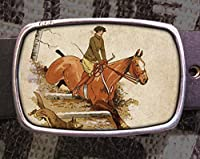 Vintage Horse Jumping Riding Leather Belt Buckle 703