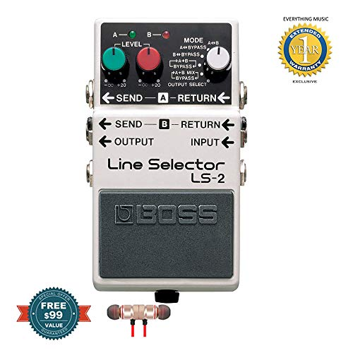 Boss LS-2 Line Selector Pedal includes Free Wireless Earbuds - Stereo Bluetooth In-ear and 1 Year Everything Music Extended Warranty
