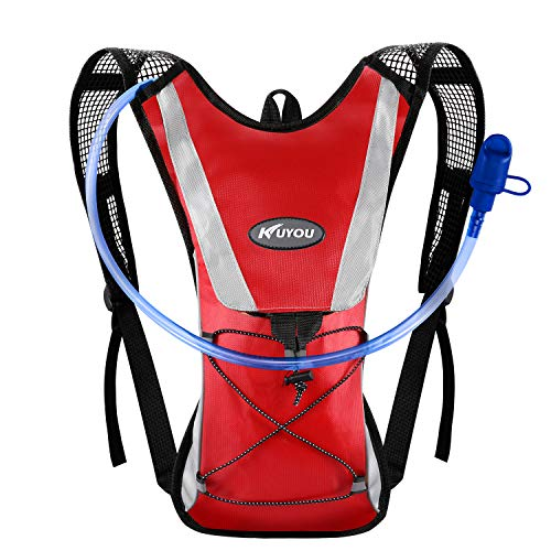 (KUYOU Hydration Pack Water Rucksack Backpack Bladder Bag Cycling Bicycle Bike/Hiking Climbing Pouch + 2L Hydration Bladder,(Red+Water Pouch) )