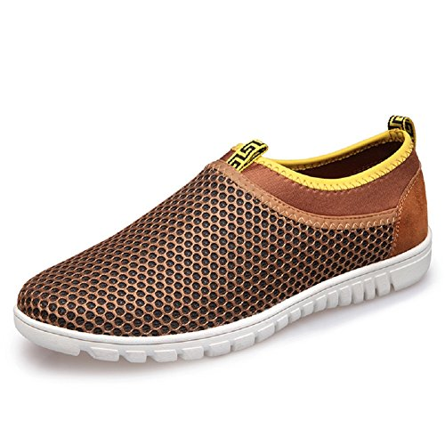 pestor Men's Mesh Slip On Loafers Breathable Walking Running Sneakers Aqua Water Shoes For Beach Athletic Drive (Men: US 10, Brown)