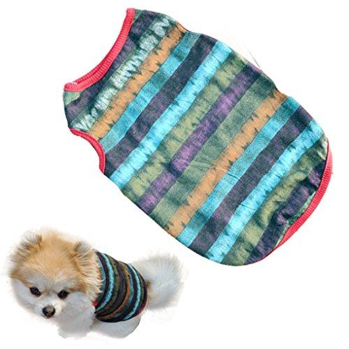 Pet Clothes,Haoricu Summer Stripe Vest Cotton Pet Clothing Pet Costume Small Dog Cat Apparel SleevelessT shirt (XS)