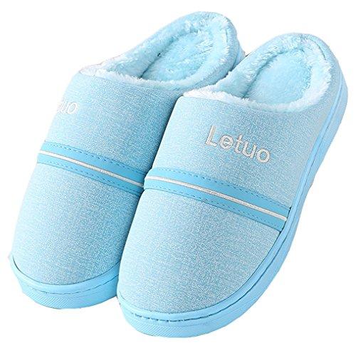 Dsmor Womens Brief Warme Winter Slipper Slaapkamer Slippers Indoor Vloer Slippers Blauw