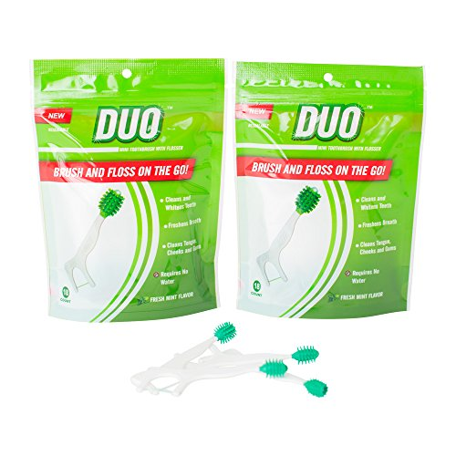 DUO Mini Toothbrush with Flosser, Fresh Mint, 36 Count (2 Pack) (Leaf Wispy)