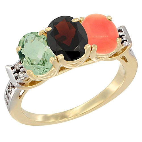10K Yellow Gold Natural Green Amethyst, Garnet & Coral Ring 3-Stone Oval 7x5 mm Diamond Accent, size 5.5 (Garnet Three Stone Ring)