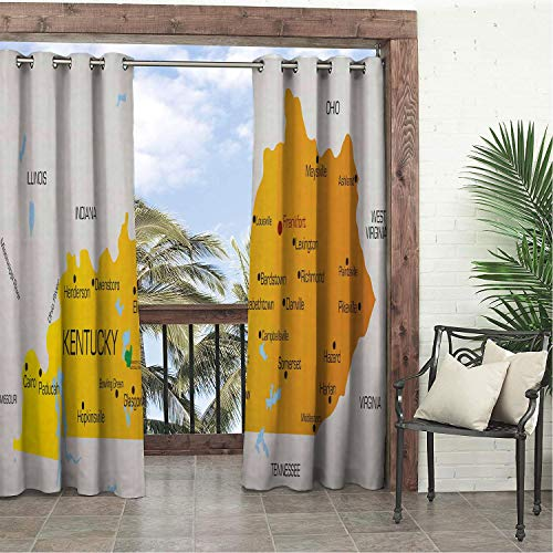 - Linhomedecor Garden Waterproof Curtains Kentucky Kentucky State City Names America Political Map Educational Grey Pale Orange and Yellow Porch Grommet Party Curtain 84 by 96 inch