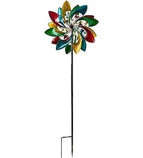 Americana Flower Black Duck Brand 14 Inch Patriotic Double Wind Spinner