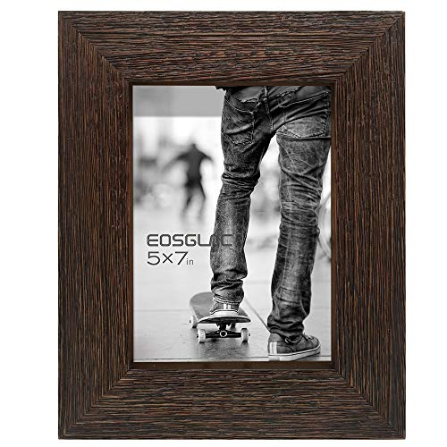 Eosglac Rustic Picture Frame 5x7, Weathered Dark Brown Reclaimed Look Wooden Photo Frame, Tabletop or Wall Mounting Display (Table Wooden Tops Reclaimed)