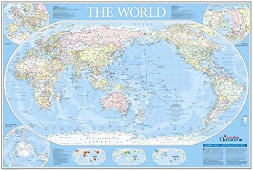 Australia In World Map.World Map Australia Centred Fold Out Australian Geographic Amazon