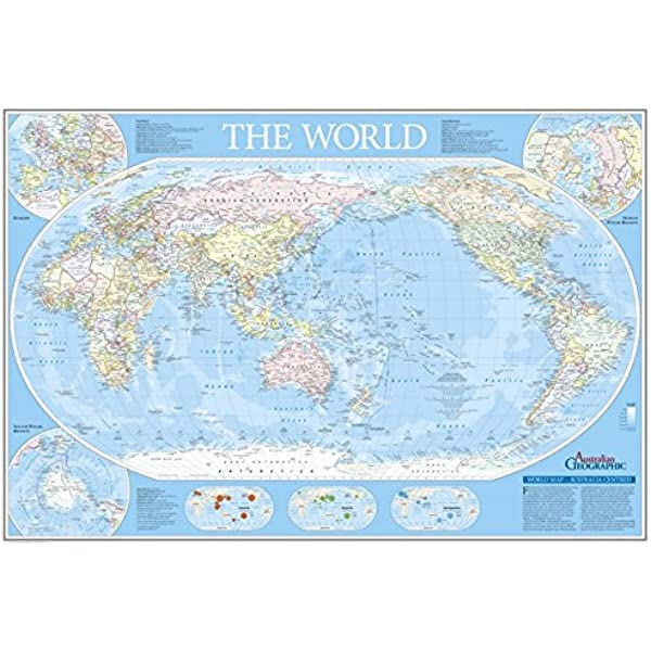 Australia Map In World.World Map Australia Centred Fold Out Australian Geographic Amazon