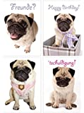 Postkarten 4er Set Mops Mopsdame Zoé V2