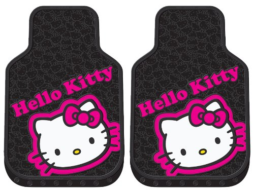 Hello Kitty Collage Hot Pink Sanrio Car Truck SUV Front Seat Rubber Floor Mats - PAIR