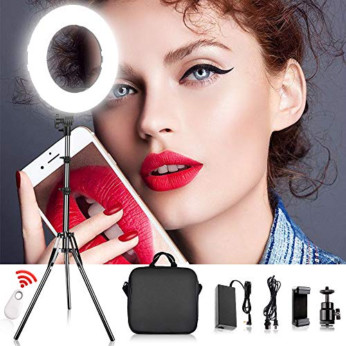 "FOSITAN LED Ring Light 14"" outer/10 on Center with 2 Meter Light Stand, Filters, Carrying Bag for Makeup Artist Vlogger YouTube Video and Portraits Salon Shooting from FOSITAN"