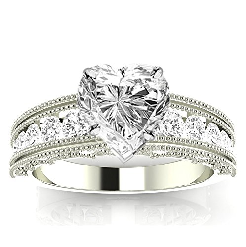 2.6 Cttw 14K White Gold Heart Cut Antique / Vintage Style Channel Set Round Diamond Engagement Ring with Milgrain with a 2 Carat I-J Color I1 Clarity Center