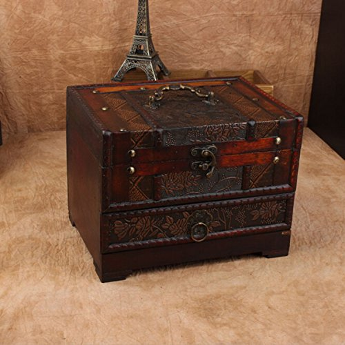 Charminer Retro Antique Flower Carved Wooden Jewelry Storage Box Container Case (Antique Jewelry Box compare prices)