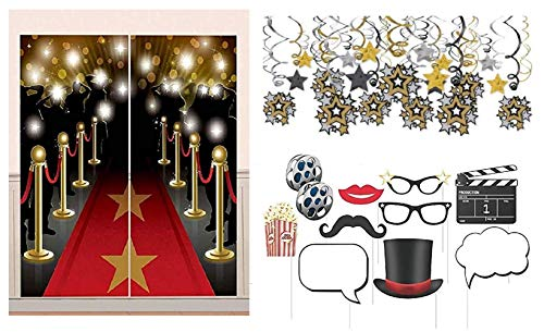 Hollywood Theme Mega Decorating Pack Including:Mega Swirl Hanging Decorations, Red Carpet Scene Setter & Movie Theme Photo Booth Props -