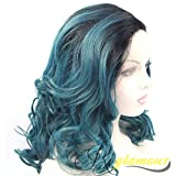 Riglamour Dark Blue Green Women Wigs Medium Length Ombre Hair Wigs Black Roots Heat Resistant Synthetic Lace Front Wig Half Hand Tied Wavy