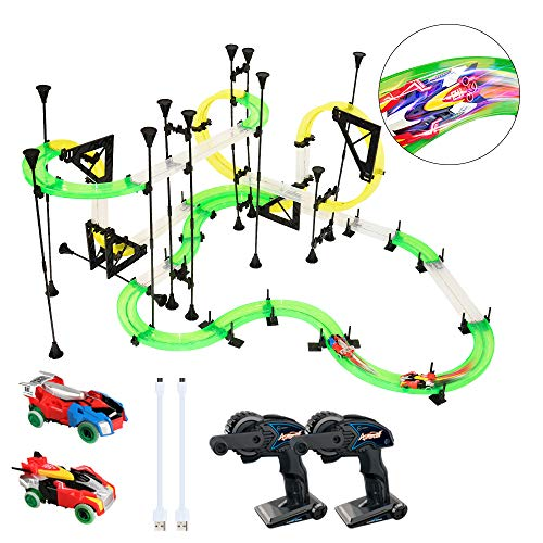 Track Remote Control Switch (LEDshope RC Car Race Track Set - Slot Car Track Set with 2 Remote Control Cars and 19 ft. of Flexible Building Tracks for Boys or Girls, Fun Racing Set for Kids)