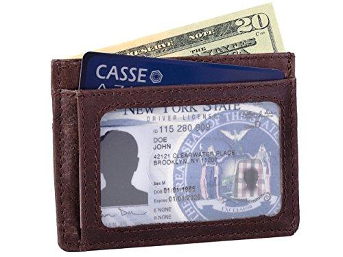 (Dwellbee RFID Blocking Slim Front Pocket Leather Credit Card Wallet (Buffalo Leather, Dark)